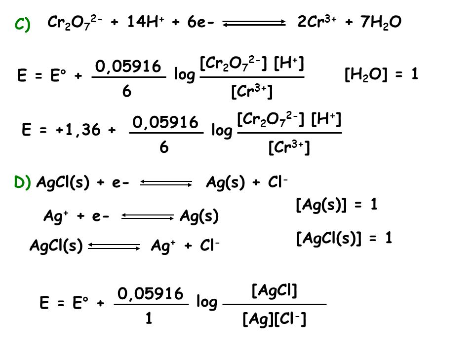 C) Cr2O72- + 14H+ + 6e- 2Cr3+ + 7H2O. [Cr2O72-] [H+] 0,05916. E = E° + log. [H2O] = 1.